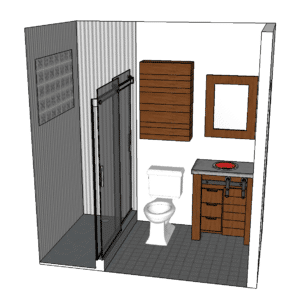 3d sketchup perspective of barnwood bathroom remodeling design